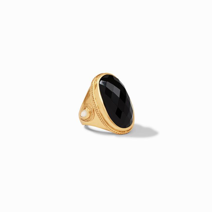 Julie Vos 24k Yellow Gold Plate Cassie Statement Ring in Obsidian Black