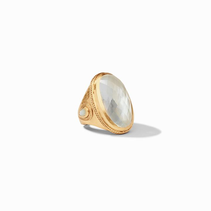 Julie Vos 24k Yellow Gold Plate Cassie Statement Ring in Iridescent Clear Crystal