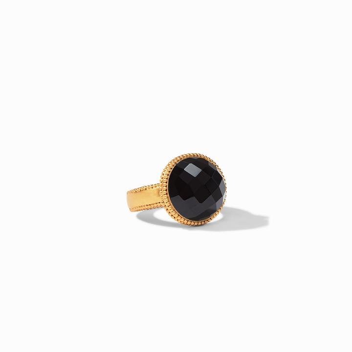 Julie Vos 24k Yellow Gold Plate Fleur-de-Lis Ring in Obsidian Black