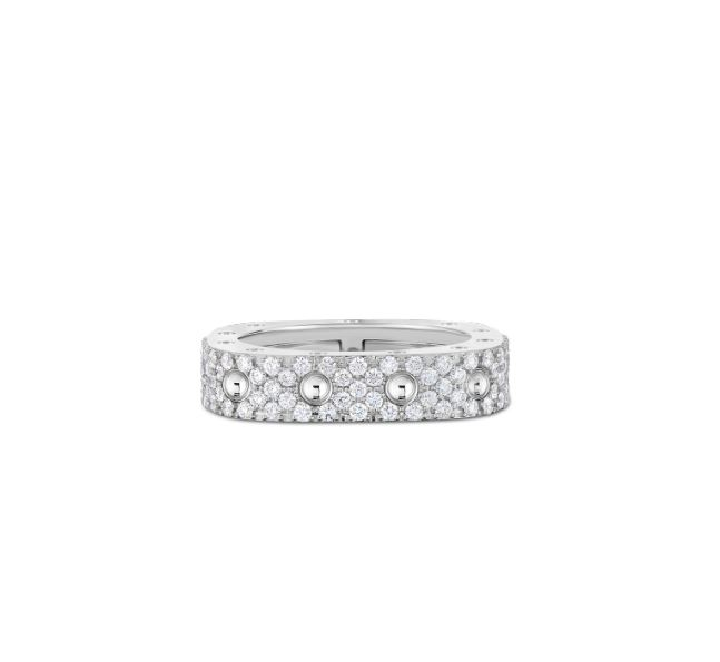 Roberto Coin 18k White Gold 1 Row Square Ring with Diamonds