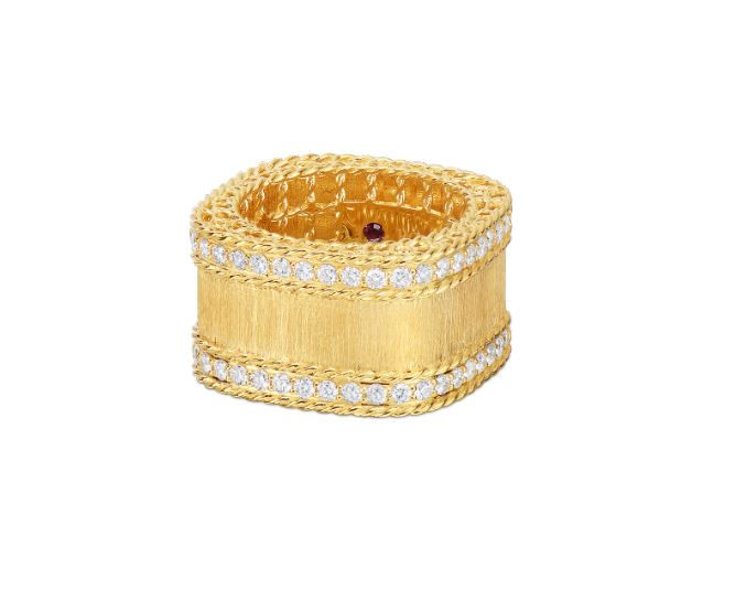 Roberto Coin Satin Finish Ring with Diamond Edges in 18k Yellow Gold