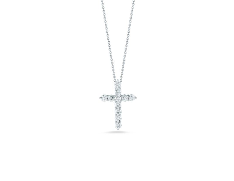 Roberto Coin Cross Pendant Necklace with Diamonds in 18k White Gold