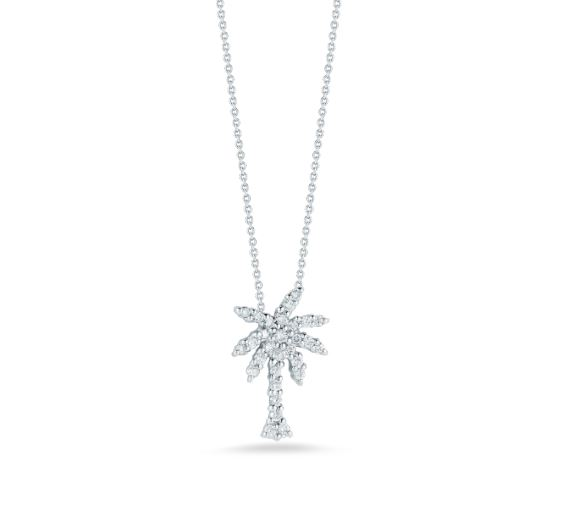 Roberto Coin Small Palm Tree Pendant Necklace with Diamonds in 18k White Gold