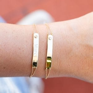 Bailey's Heritage Collection Diamond ID Bar Bracelet in 14kt Yellow Gold