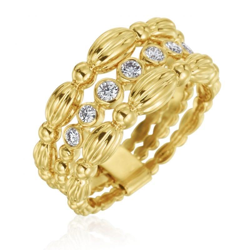 Gumuchian Nutmeg 18k Yellow Gold Small Three Row Ring