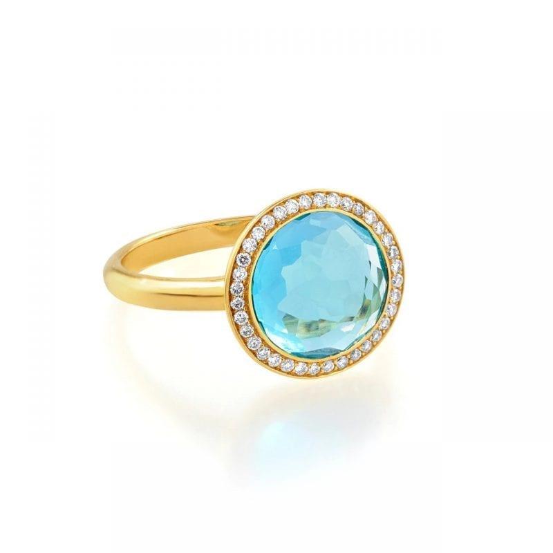 Ippolita 18k Yellow Gold Small Ring in Swiss Blue Topaz