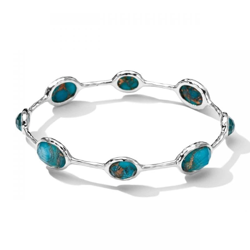 Ippolita Sterling Sliver 8 Stone Bangle Bracelet in Bronzed Turquoise