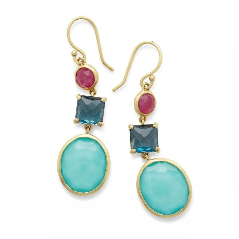 Ippolita 18k Yellow Gold 3-Stone Drop Earrings in Summer Rain