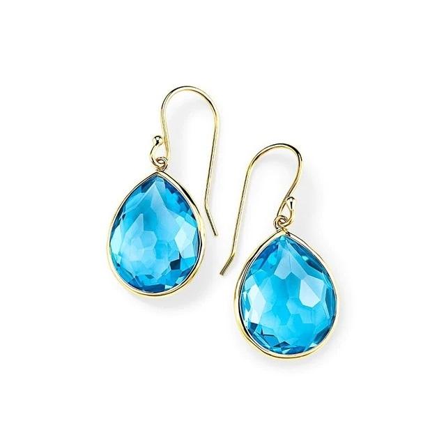 Ippolita 18k Yellow Gold Large Teardrop Earrings in Swiss Blue Topaz