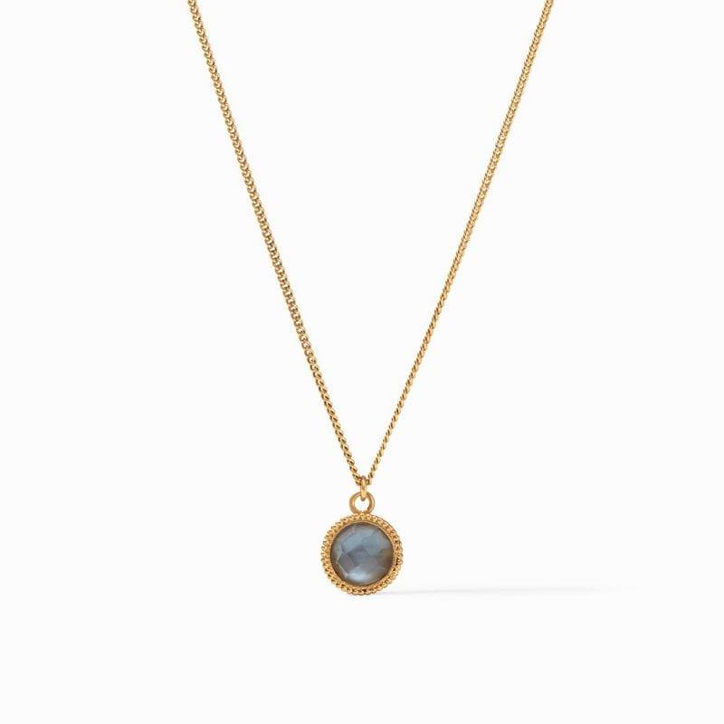 Julie Vos 24k Yellow Gold Plate Fleur-de-Lis Solitaire Necklace in Iridescent Slate Blue