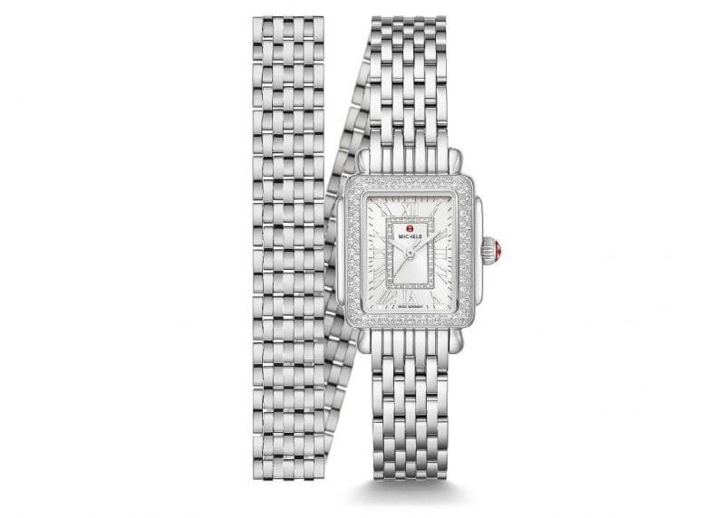 Michele 22x32mm Deco Madison Mini Stainless Steel Diamond Watch