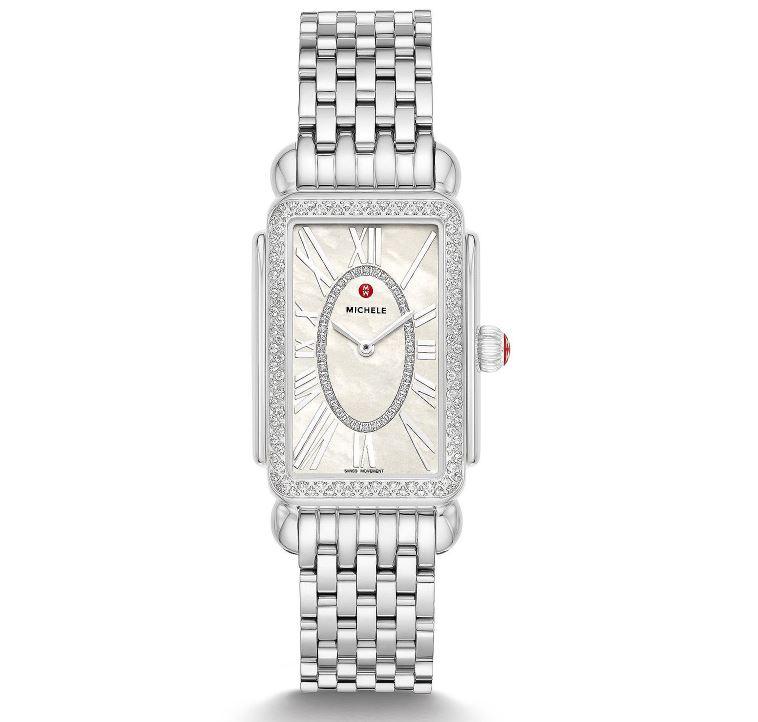 Michele 26.5x37mm Deco Park Stainless Steel Diamond Watch
