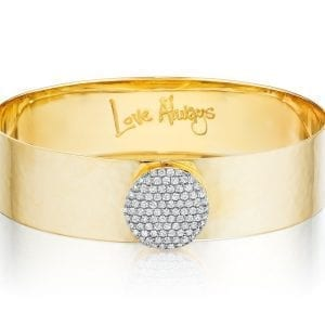 "front product view of phillips house affair love always gold and diamond bracelet with words ""love always"" engraved inside"