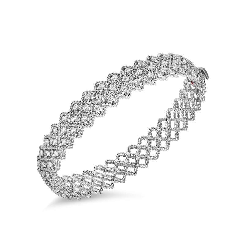 Roberto Coin Three Row Diamond Bangle Bracelet in 18k White Gold