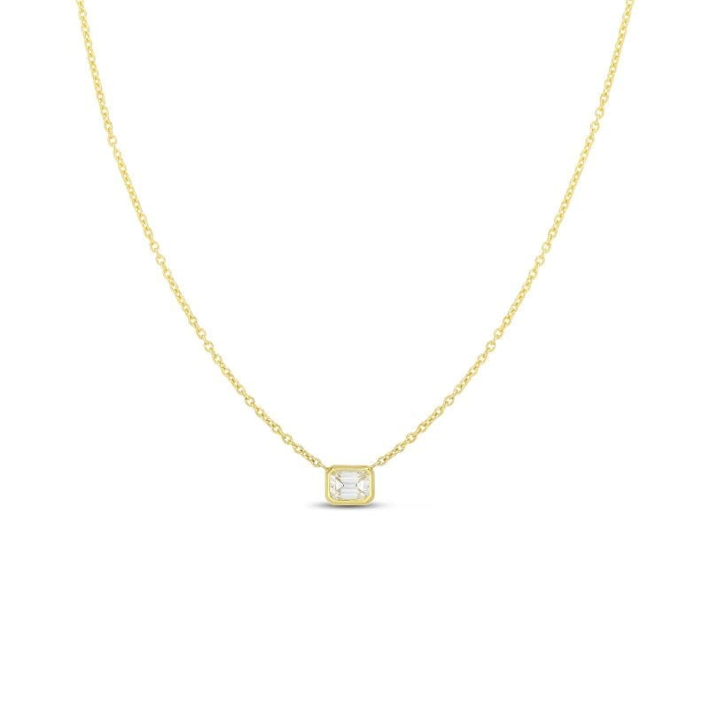 Roberto Coin 18k Yellow Gold Emerald Cut Diamond Necklace