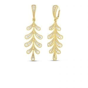 roberto coin byzantine barocco diamond yellow gold dangle leaf motif earrings on white background