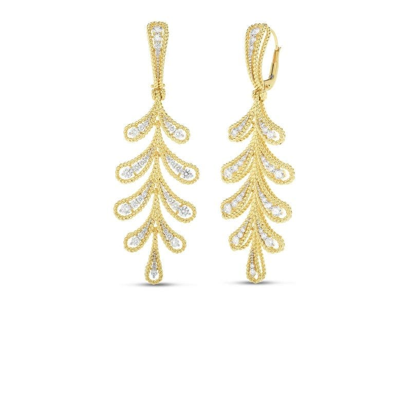 roberto coin byzantine barocco diamond yellow gold dangle leaf motif earrings on white background