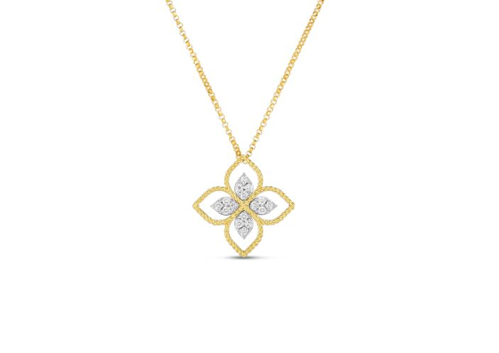 Roberto Coin 18k Principessa Large Flower Pendant Necklace with Diamonds