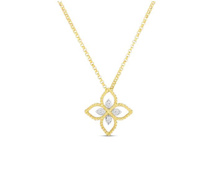 Roberto Coin 18k Principessa Small Flower Pendant Necklace with Diamonds