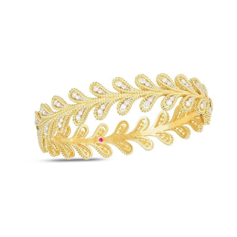 Roberto Coin 18k Diamond Byzantine Barocco Laurel Leaf Bracelet