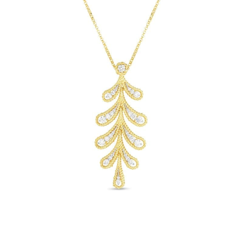 Roberto Coin 18k Diamond Byzantine Barocco Laurel Leaf Pendant Necklace