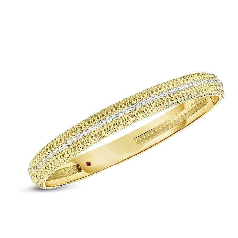 Roberto Coin 18k Opera Medium Width Hinged Bracelet with Diamonds