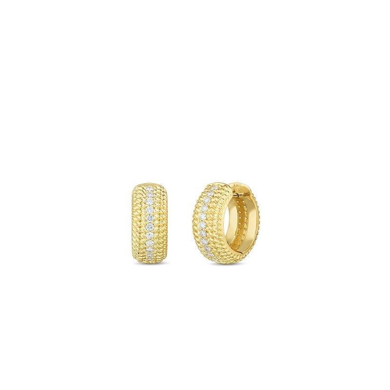 Roberto Coin 18k Opera Textured Snap Hoop Earrings with Diamonds