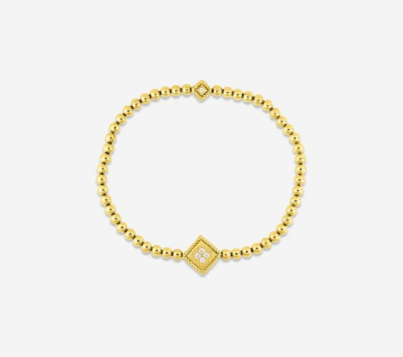 Roberto Coin 18k Yellow Gold Palazzo Ducale Stretch Bracelet with Diamonds