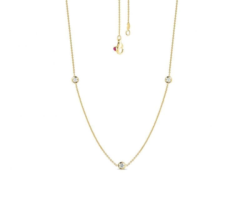 Roberto Coin 18k Yellow Gold Necklace with Three Diamond Stations