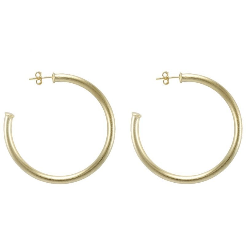 Sheila Fajl Brushed Yellow Gold Plate Small Everybody's Favorite Hoop Earrings