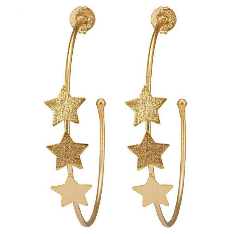 Sheila Fajl 18k Yellow Gold Plate Silvina Star Hoop Earrings