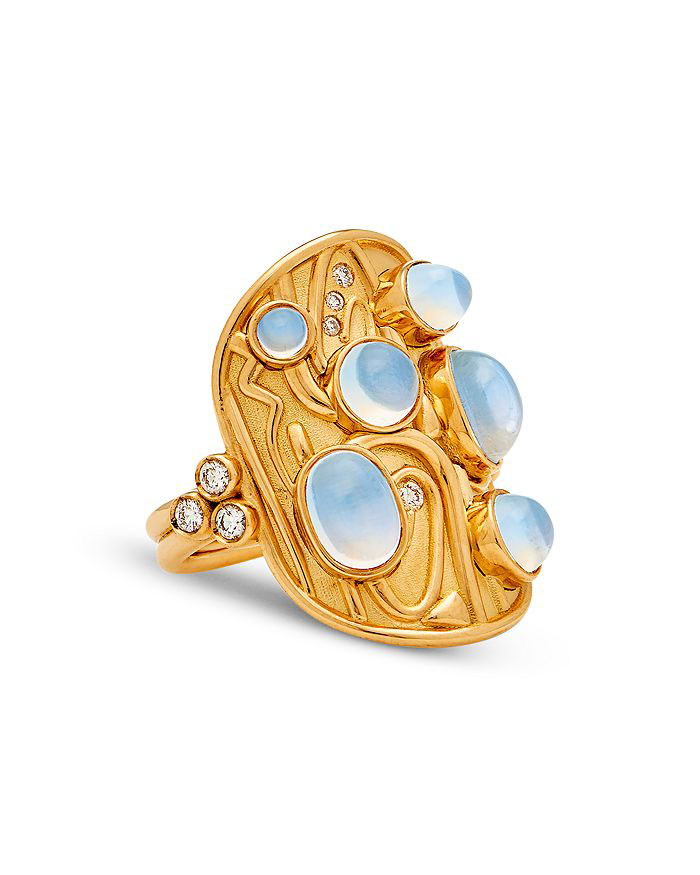 Temple St. Clair Isola Ring in 18k Yellow Gold with Diamond and Blue Moonstone