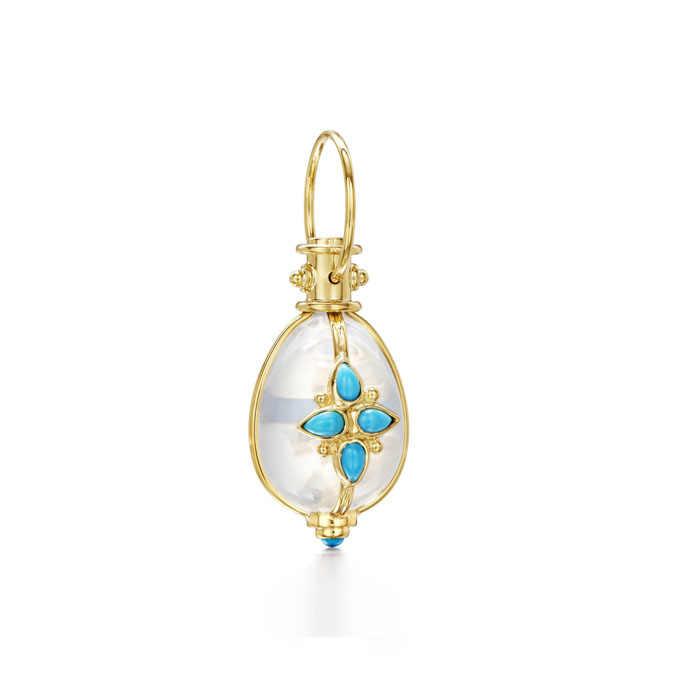 Temple St. Clair 18k Yellow Gold Mandala Amulet with Turquoise