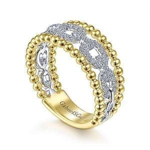 Diamond Chain Link and Bead Band Ring