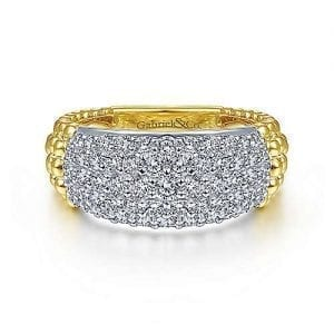 Bead Diamond Wide Band Ring