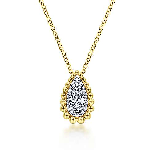 Beaded Teardrop Diamond Pave Pendant Necklace