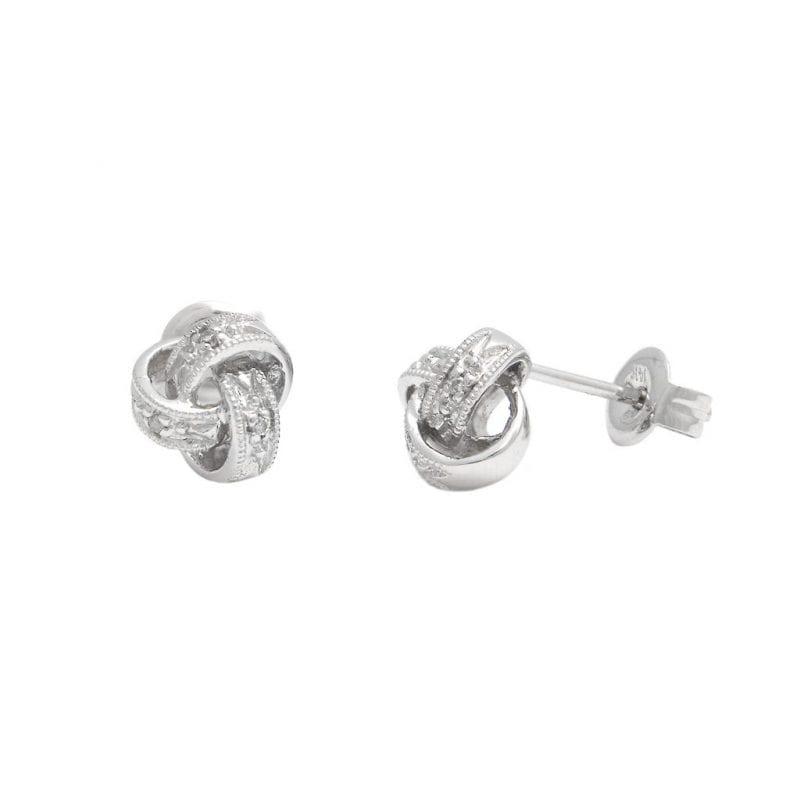 Love Knot Diamond Stud Earrings in Sterling Silver
