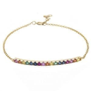 Bailey's Goldmark Collection Rainbow Bar Bracelet in 14k Yellow Gold