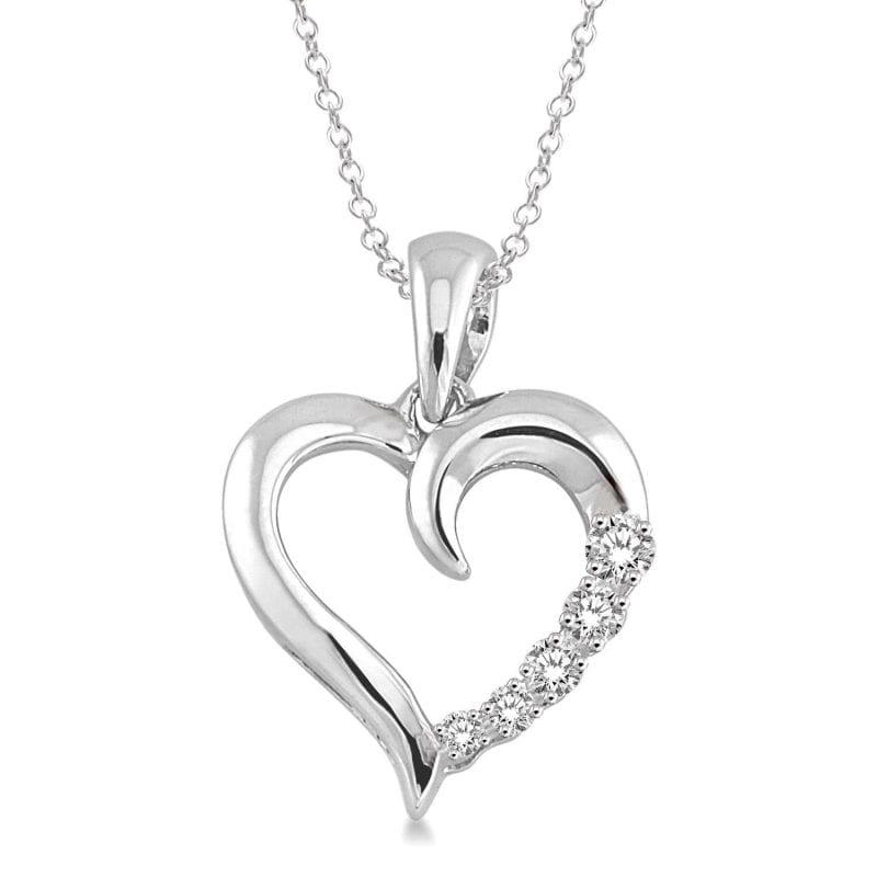 Sterling Silver Open Heart Shape Diamond Pendant Necklace