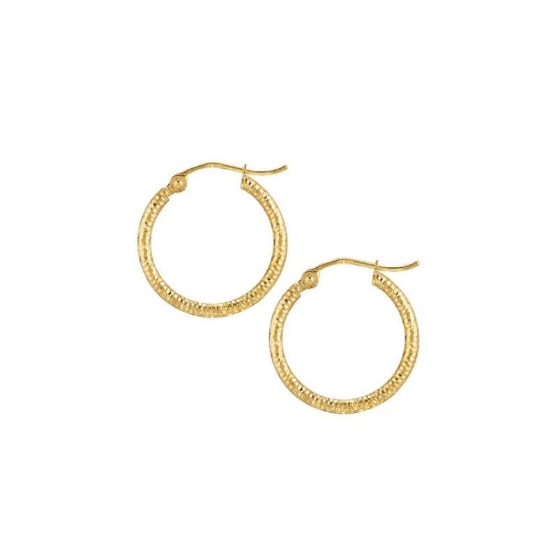 Textured Hoop Earrings in 14k Yellow Gold