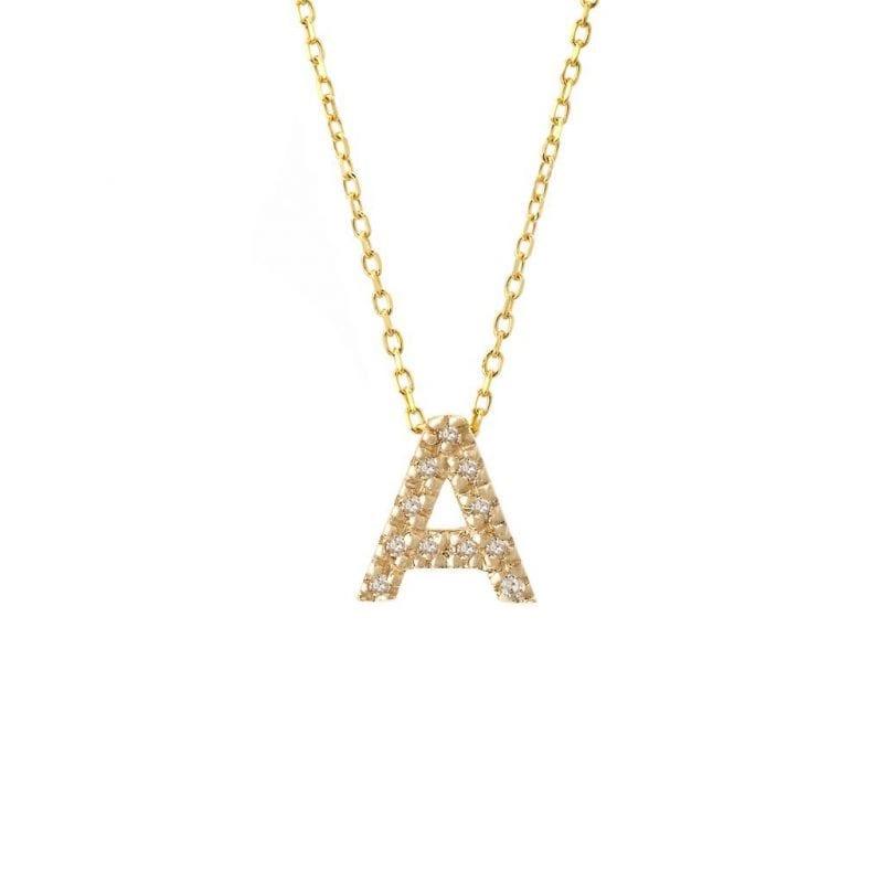 Block Diamond Initial Necklace