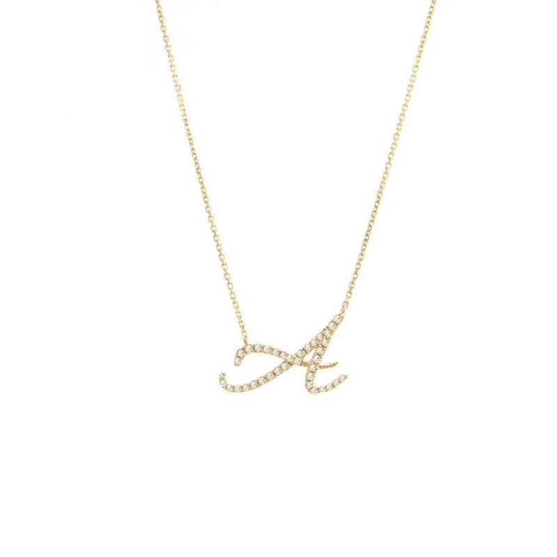 Script Diamond Initial Necklace