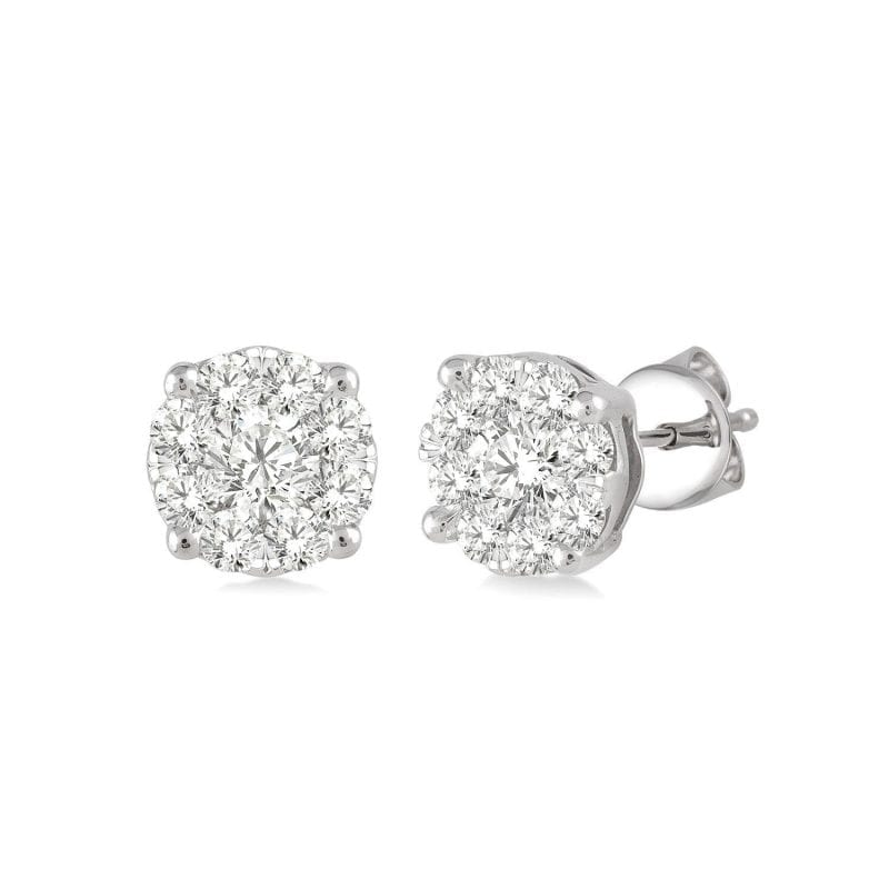 Diamond Cluster Stud Earrings in 14k White Gold