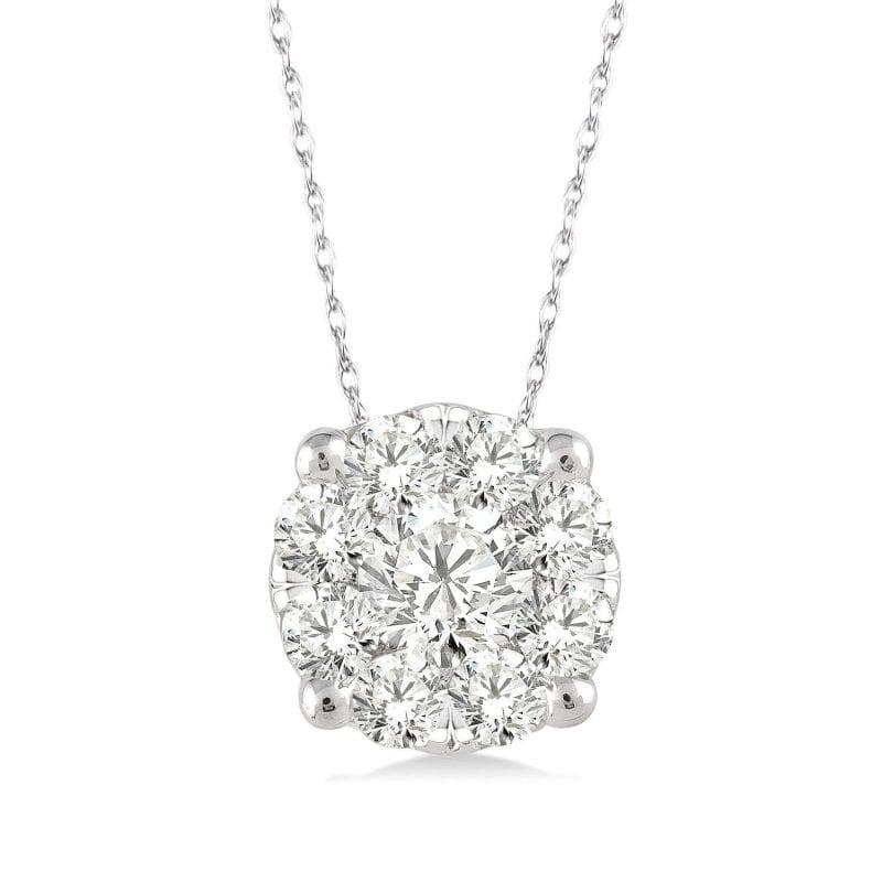 Cluster Diamond Pendant Necklace in 14k White Gold