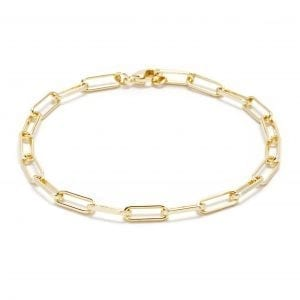 14k Yellow Gold Plate Paperclip Chain Bracelet
