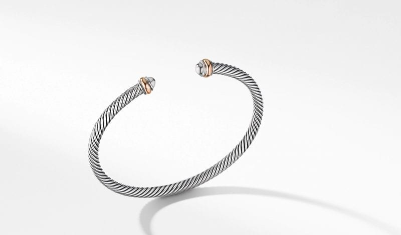Cable Classics Collection Bracelet with 18K Rose Gold, Size S