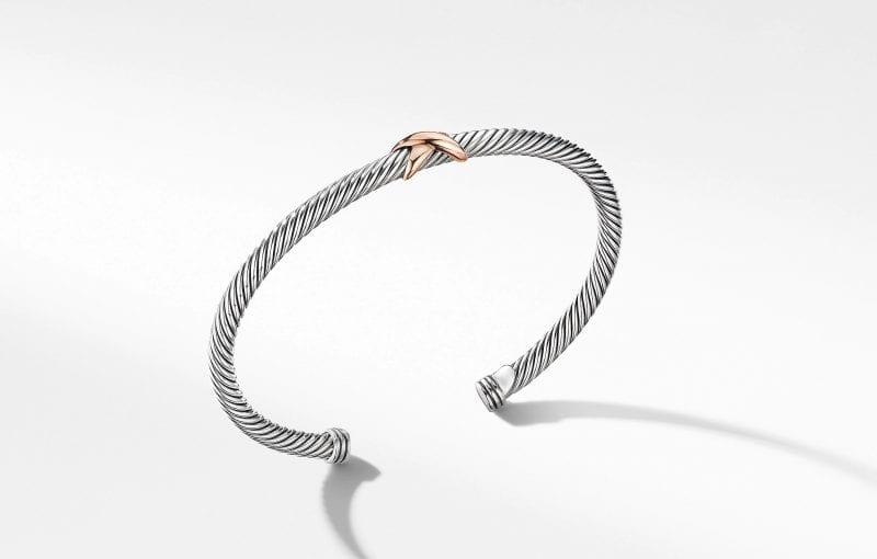 X Station Bracelet with 18K Rose Gold, Size M
