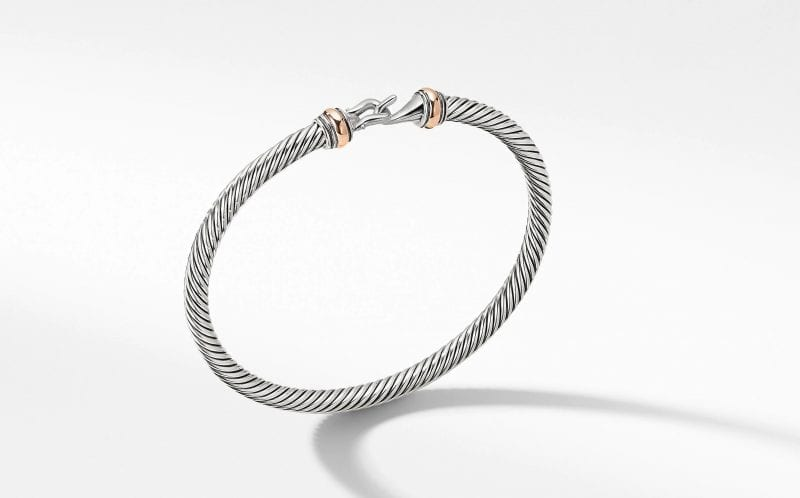 Cable Buckle Bracelet with 18K Rose Gold, Size M