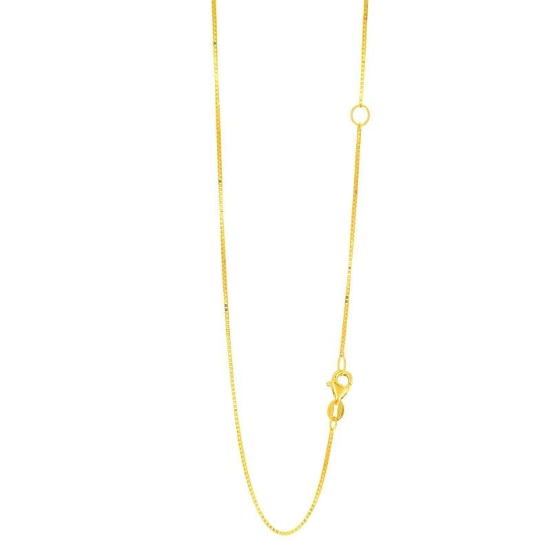 14K Gold .8mm Extendable Classic Box Chain