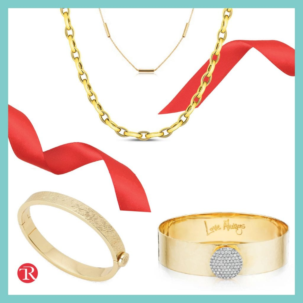 """Image of jewelry from the """"elevate your look"""" trend with twisted red ribbon in the background. There is a gold bangle in the bottom left corner next to a logo with the letters """"T"""" and """"R."""" There is a gold and diamond bangle in the bottom right corner that says 'Love Always."""" There are two gold chains at the top of the image in the middle."""